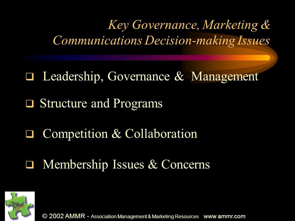 © 2002 AMMR - Association Management & Marketing Resources www. ammr.com Key Governance, Marketing & Communications Decision-making Issues Leadership,