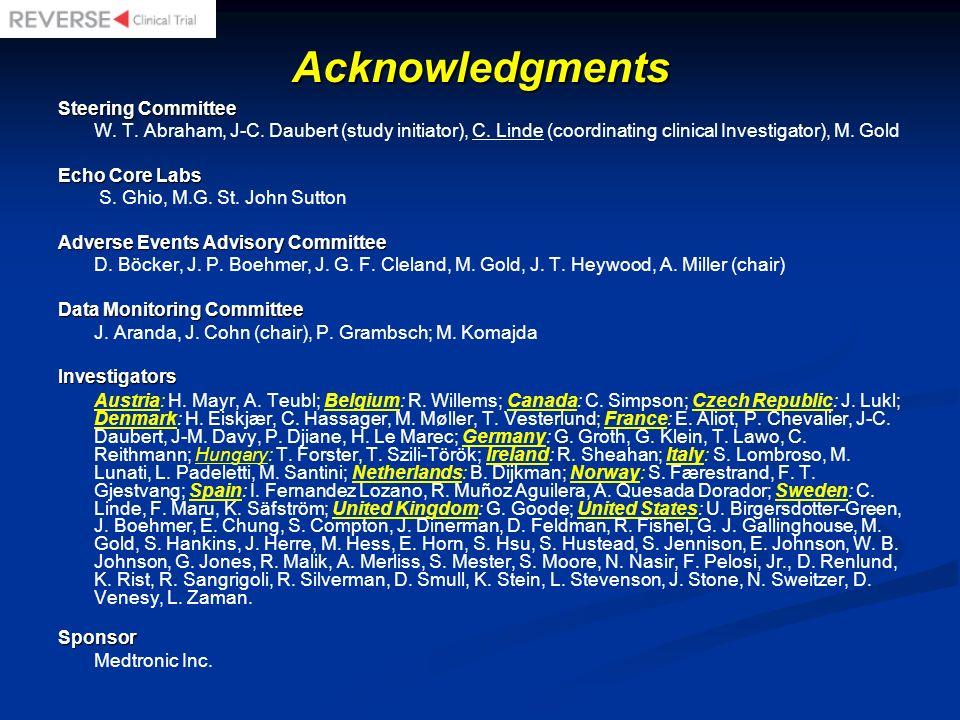 Acknowledgments Steering Committee W. T. Abraham, J-C. Daubert (study initiator), C. Linde (coordinating clinical Investigator), M. Gold Echo Core Lab