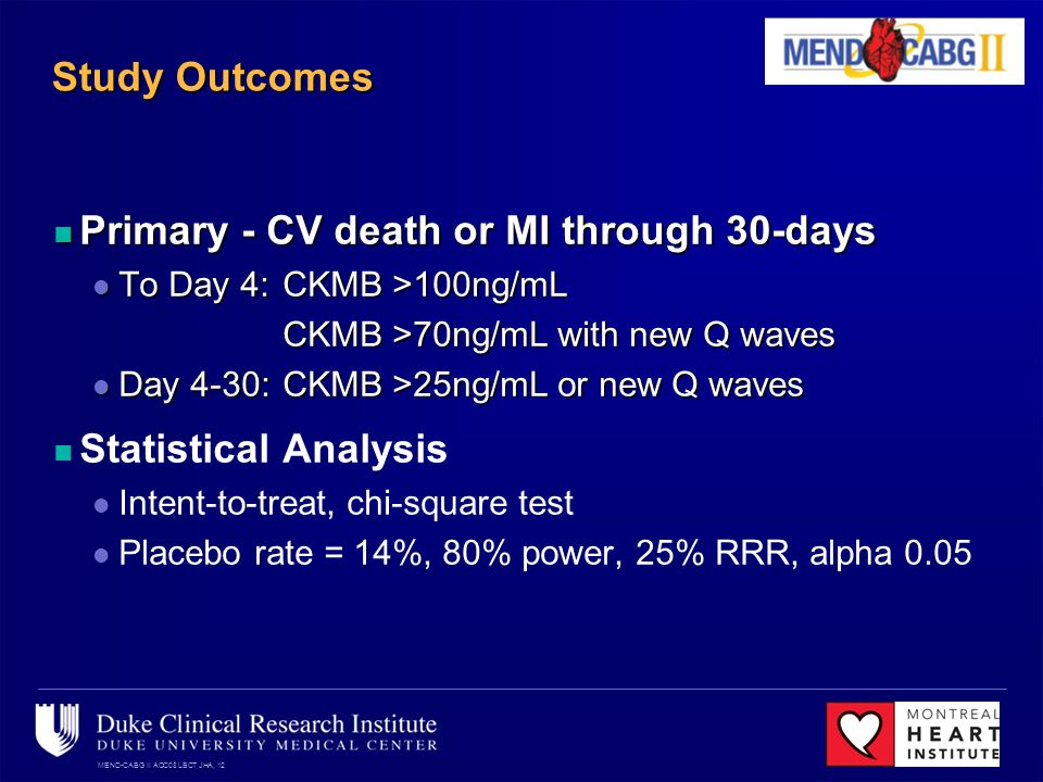 MEND-CABG II ACC08 LBCT JHA, 12 Study Outcomes Primary - CV death or MI through 30-days Primary - CV death or MI through 30-days To Day 4: CKMB >100ng/mL To Day 4: CKMB >100ng/mL CKMB >70ng/mL with new Q waves Day 4-30: CKMB >25ng/mL or new Q waves Day 4-30: CKMB >25ng/mL or new Q waves Statistical Analysis Intent-to-treat, chi-square test Placebo rate = 14%, 80% power, 25% RRR, alpha 0.05