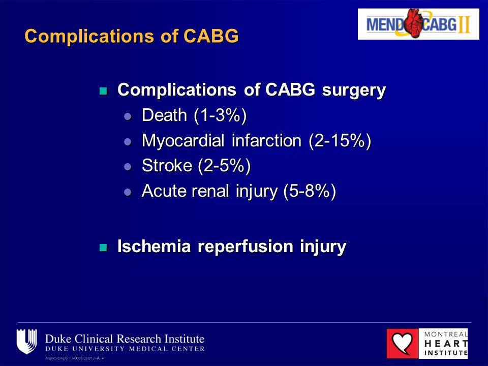 MEND-CABG II ACC08 LBCT JHA, 4 Complications of CABG Complications of CABG surgery Complications of CABG surgery Death (1-3%) Death (1-3%) Myocardial