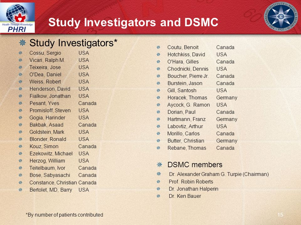 Study Investigators and DSMC Study Investigators* Cossu, Sergio USA Vicari, Ralph M.