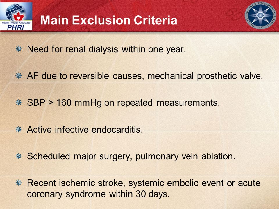 Main Exclusion Criteria Need for renal dialysis within one year.
