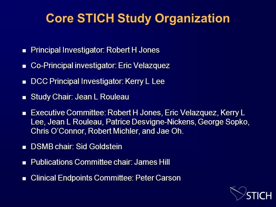 Core STICH Study Organization n Principal Investigator: Robert H Jones n Co-Principal investigator: Eric Velazquez n DCC Principal Investigator: Kerry