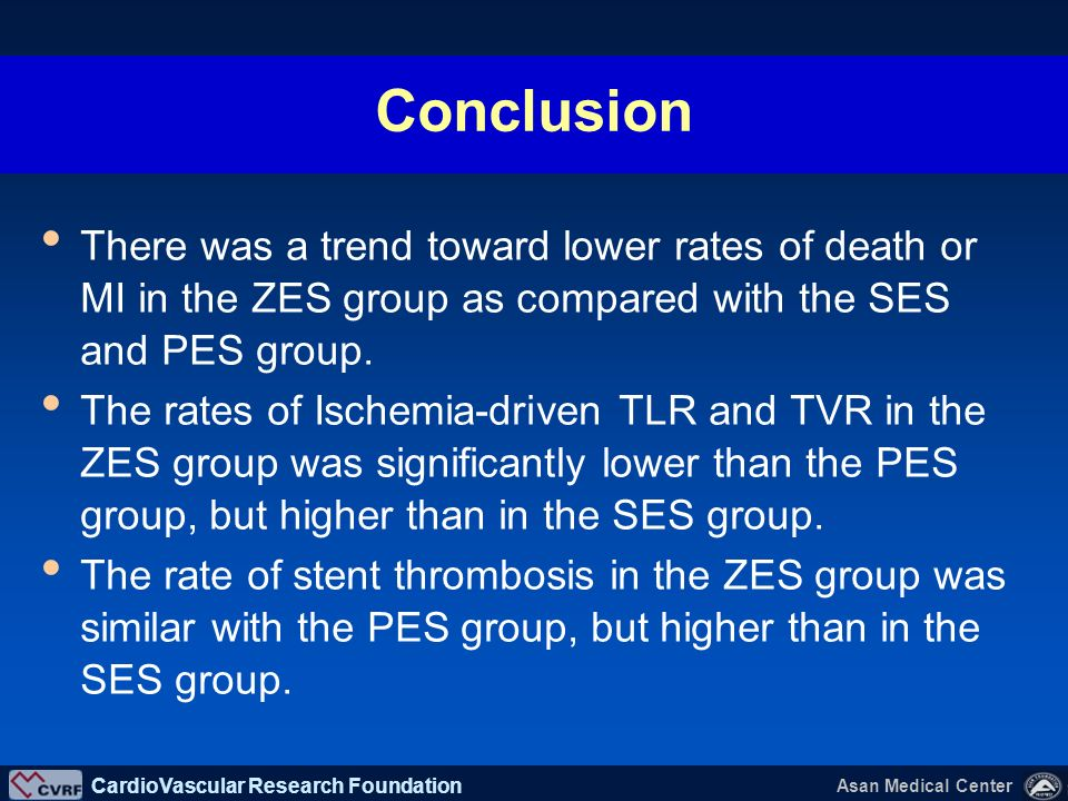 CardioVascular Research Foundation Asan Medical Center As compared with first-generation DES (SES and PES), the use of ZES results in similar major ad