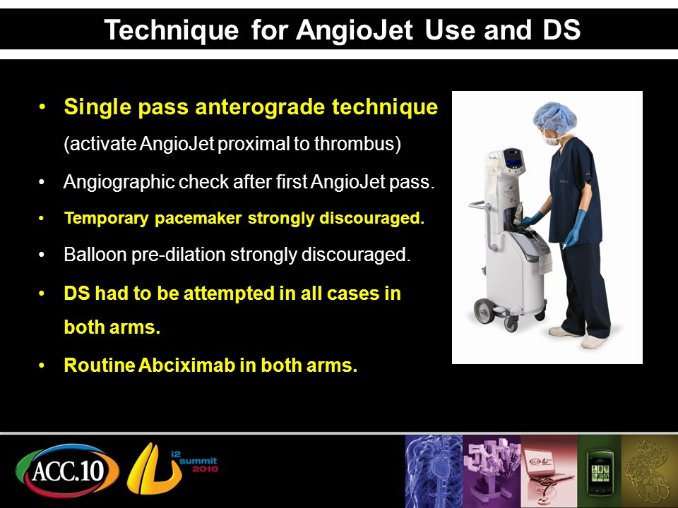 Technique for AngioJet Use and DS Single pass anterograde technique (activate AngioJet proximal to thrombus) Angiographic check after first AngioJet pass.