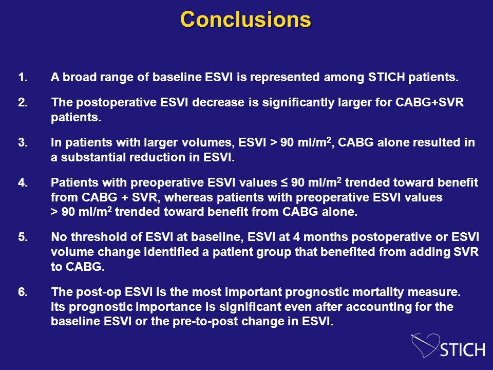 Conclusions 1.A broad range of baseline ESVI is represented among STICH patients. 2.The postoperative ESVI decrease is significantly larger for CABG+S