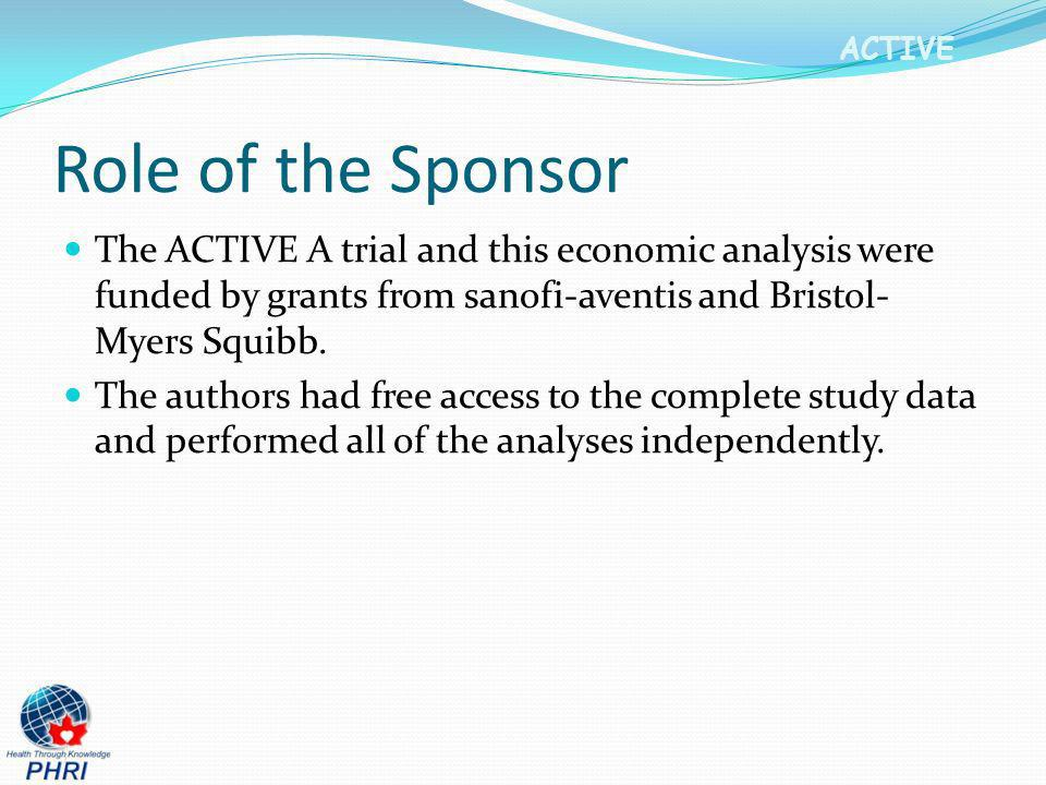 ACTIVE Role of the Sponsor The ACTIVE A trial and this economic analysis were funded by grants from sanofi-aventis and Bristol- Myers Squibb. The auth