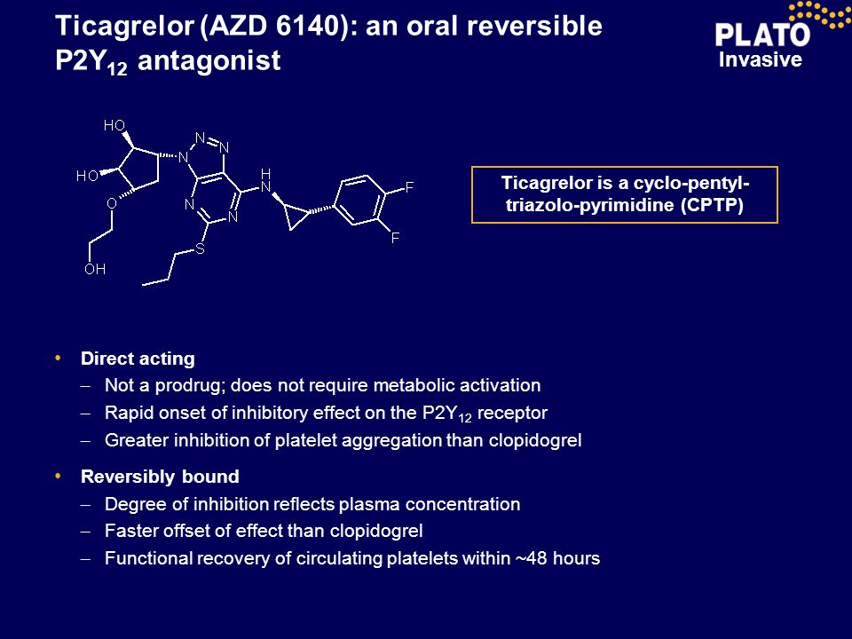 Invasive Ticagrelor (AZD 6140): an oral reversible P2Y 12 antagonist Ticagrelor is a cyclo-pentyl- triazolo-pyrimidine (CPTP) Direct acting – Not a pr