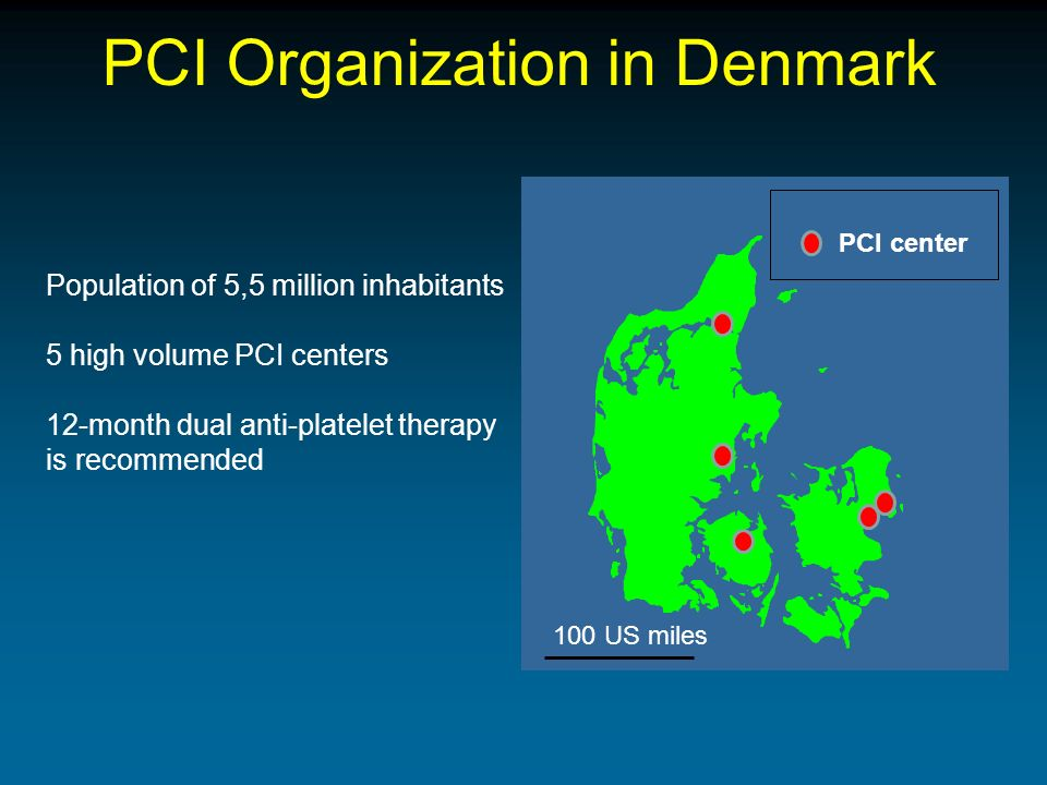 PCI Organization in Denmark Population of 5,5 million inhabitants 5 high volume PCI centers 12-month dual anti-platelet therapy is recommended PCI center 100 US miles