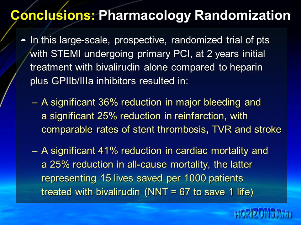 Conclusions: Pharmacology Randomization In this large-scale, prospective, randomized trial of pts with STEMI undergoing primary PCI, at 2 years initia