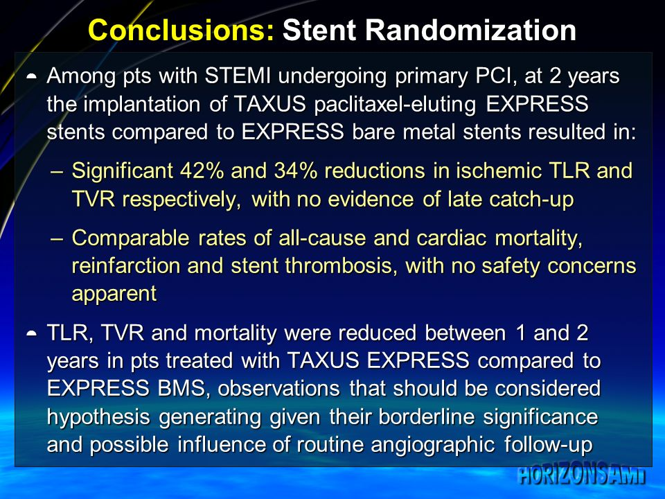 Conclusions: Stent Randomization Among pts with STEMI undergoing primary PCI, at 2 years the implantation of TAXUS paclitaxel-eluting EXPRESS stents compared to EXPRESS bare metal stents resulted in: Among pts with STEMI undergoing primary PCI, at 2 years the implantation of TAXUS paclitaxel-eluting EXPRESS stents compared to EXPRESS bare metal stents resulted in: –Significant 42% and 34% reductions in ischemic TLR and TVR respectively, with no evidence of late catch-up –Comparable rates of all-cause and cardiac mortality, reinfarction and stent thrombosis, with no safety concerns apparent TLR, TVR and mortality were reduced between 1 and 2 years in pts treated with TAXUS EXPRESS compared to EXPRESS BMS, observations that should be considered hypothesis generating given their borderline significance and possible influence of routine angiographic follow-up TLR, TVR and mortality were reduced between 1 and 2 years in pts treated with TAXUS EXPRESS compared to EXPRESS BMS, observations that should be considered hypothesis generating given their borderline significance and possible influence of routine angiographic follow-up