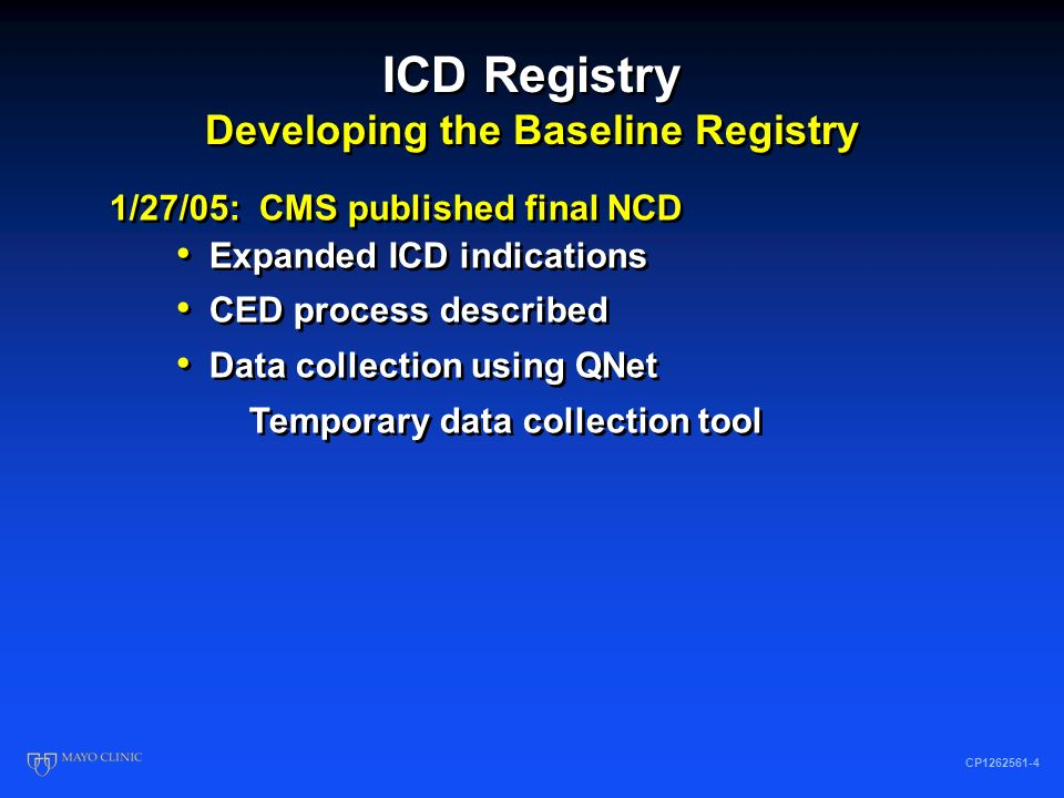 ICD Registry Developing the Baseline Registry CP1262561-3 9/28/04: CMS published proposed NCD Following SCD-HeFT release National data base proposed H