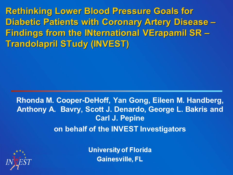 Rethinking Lower Blood Pressure Goals for Diabetic Patients with Coronary Artery Disease – Findings from the INternational VErapamil SR – Trandolapril
