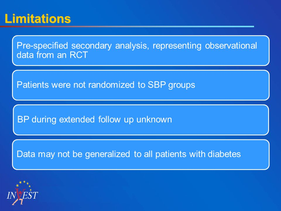 Limitations Pre-specified secondary analysis, representing observational data from an RCT Patients were not randomized to SBP groups BP during extended follow up unknown Data may not be generalized to all patients with diabetes