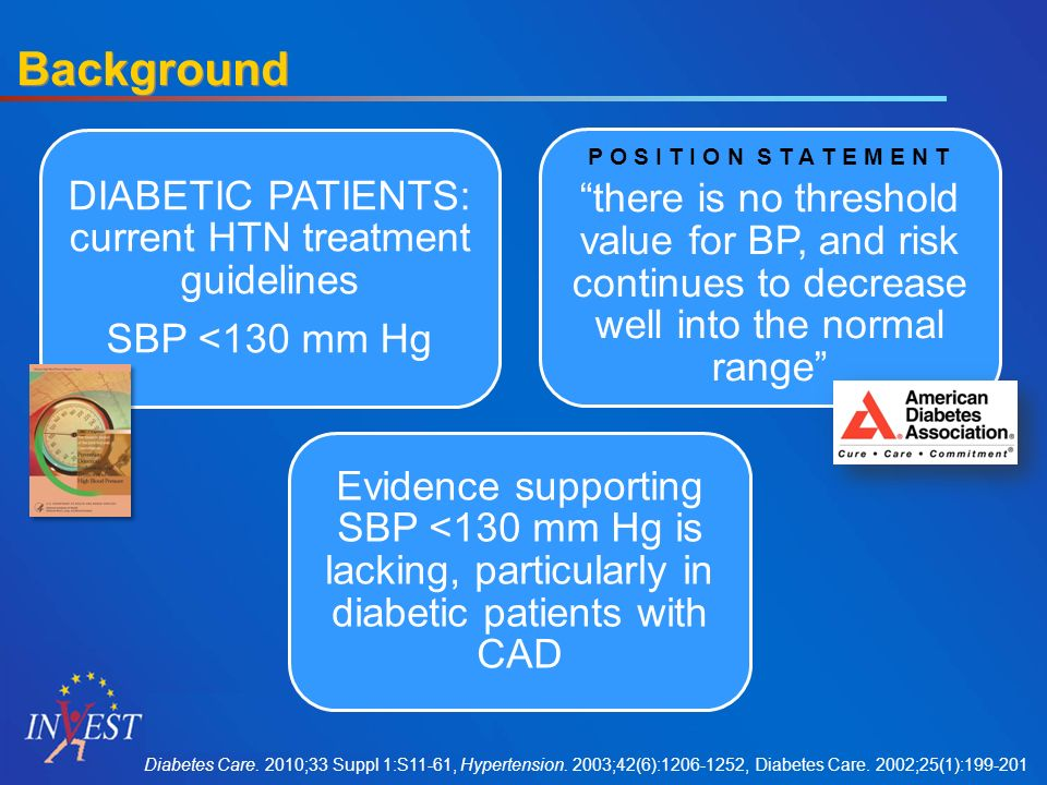 Background DIABETIC PATIENTS: current HTN treatment guidelines SBP <130 mm Hg P O S I T I O N S T A T E M E N T there is no threshold value for BP, and risk continues to decrease well into the normal range Evidence supporting SBP <130 mm Hg is lacking, particularly in diabetic patients with CAD Diabetes Care.