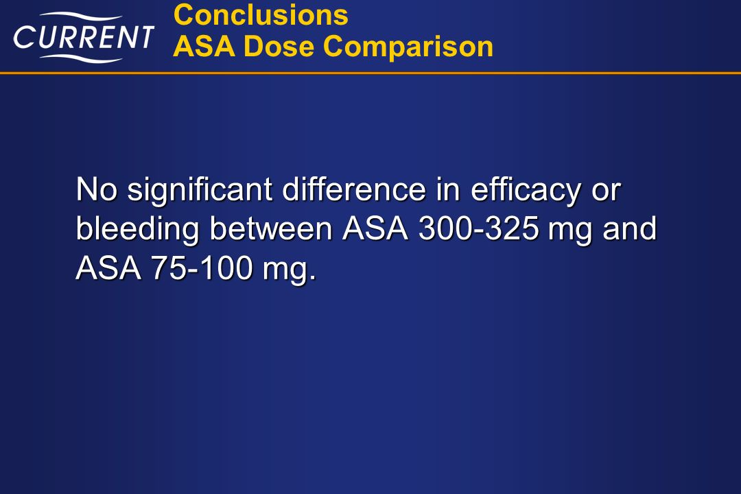 Conclusions ASA Dose Comparison No significant difference in efficacy or bleeding between ASA 300-325 mg and ASA 75-100 mg.