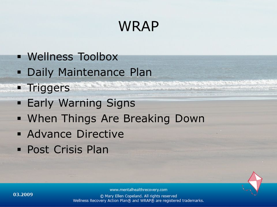 WRAP Wellness Toolbox Daily Maintenance Plan Triggers Early Warning Signs When Things Are Breaking Down Advance Directive Post Crisis Plan
