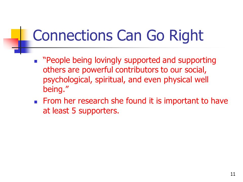 Connections Can Go Right People being lovingly supported and supporting others are powerful contributors to our social, psychological, spiritual, and