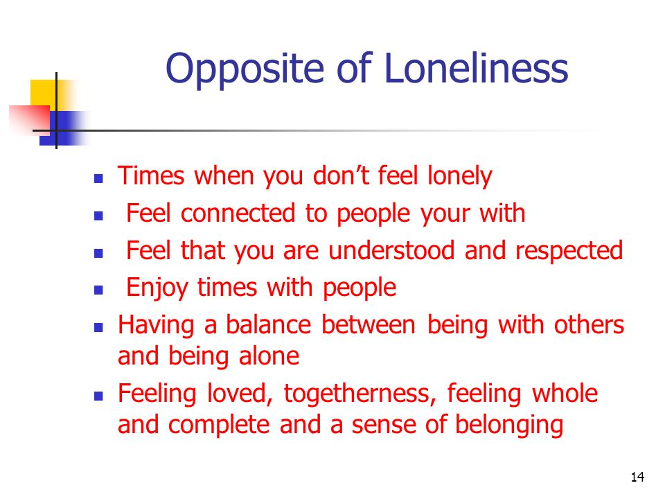 Opposite of Loneliness Times when you dont feel lonely Feel connected to people your with Feel that you are understood and respected Enjoy times with