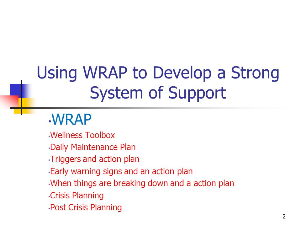 Using WRAP to Develop a Strong System of Support WRAP Wellness Toolbox Daily Maintenance Plan Triggers and action plan Early warning signs and an acti