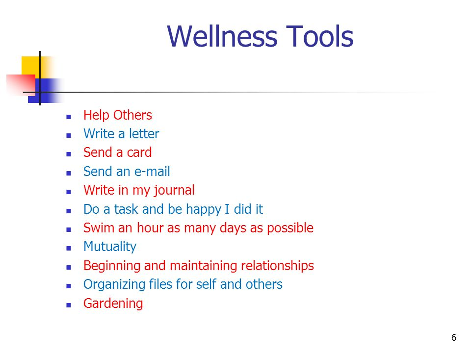 Wellness Tools Help Others Write a letter Send a card Send an e-mail Write in my journal Do a task and be happy I did it Swim an hour as many days as