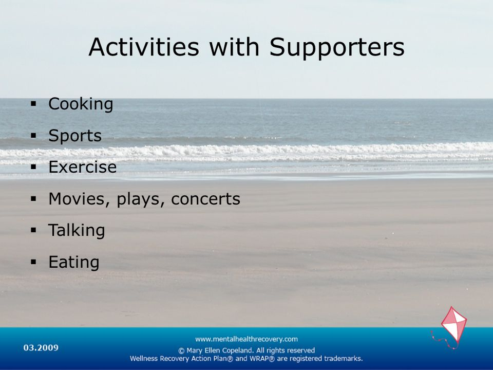 Activities with Supporters Cooking Sports Exercise Movies, plays, concerts Talking Eating