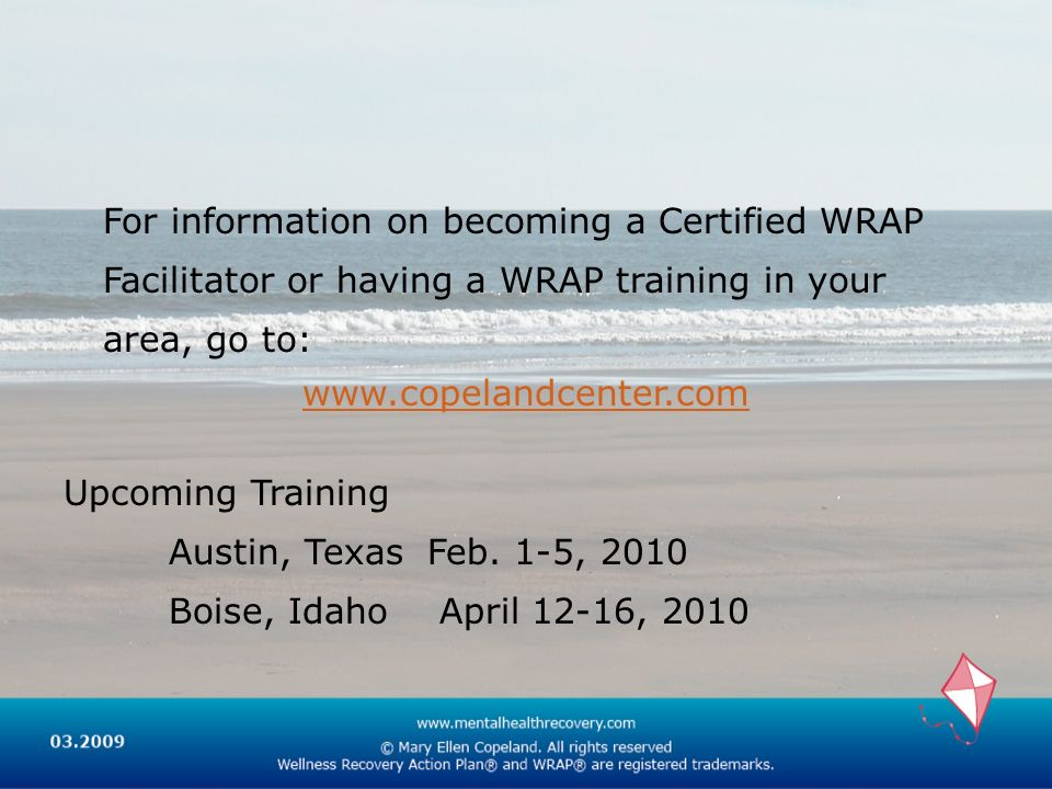 For information on becoming a Certified WRAP Facilitator or having a WRAP training in your area, go to: www.copelandcenter.com Upcoming Training Austi