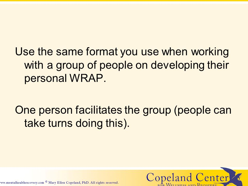 Use the same format you use when working with a group of people on developing their personal WRAP.