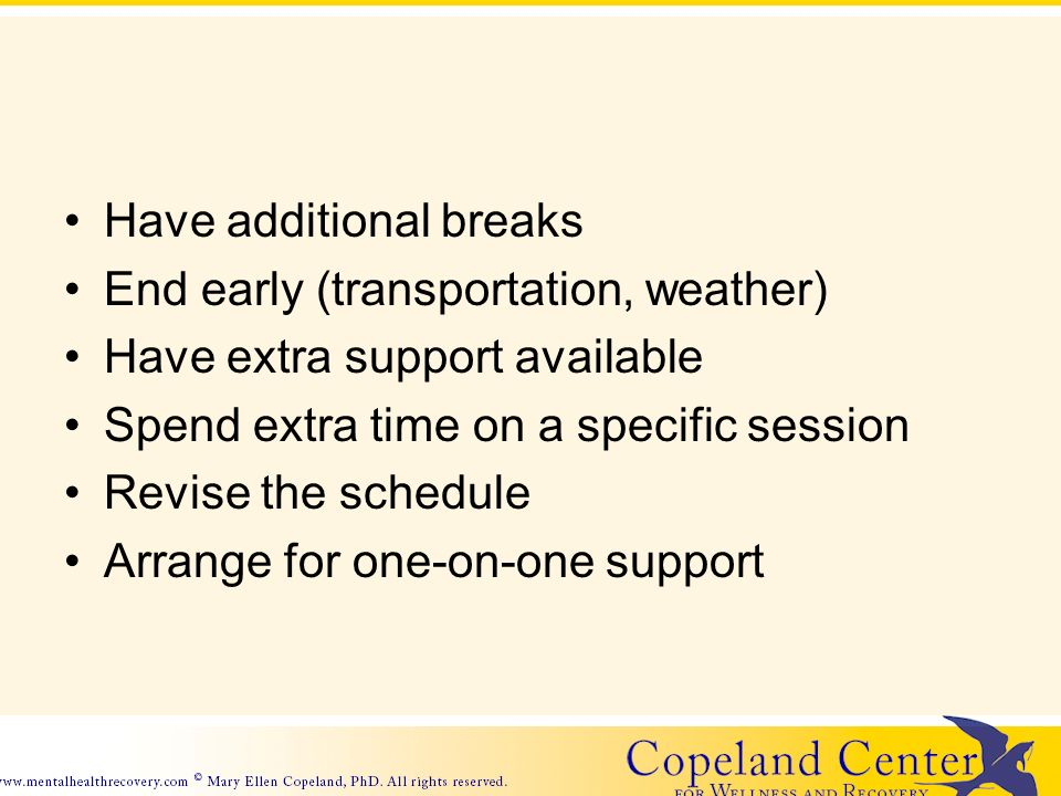 Have additional breaks End early (transportation, weather) Have extra support available Spend extra time on a specific session Revise the schedule Arrange for one-on-one support