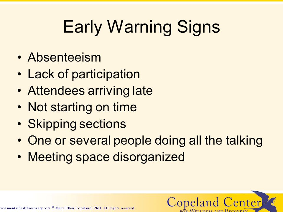 Early Warning Signs Absenteeism Lack of participation Attendees arriving late Not starting on time Skipping sections One or several people doing all the talking Meeting space disorganized