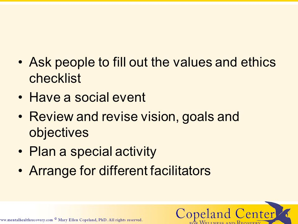 Ask people to fill out the values and ethics checklist Have a social event Review and revise vision, goals and objectives Plan a special activity Arrange for different facilitators