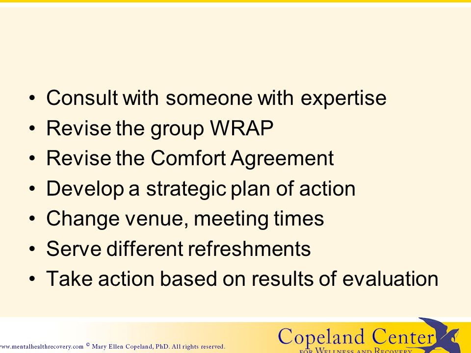Consult with someone with expertise Revise the group WRAP Revise the Comfort Agreement Develop a strategic plan of action Change venue, meeting times Serve different refreshments Take action based on results of evaluation
