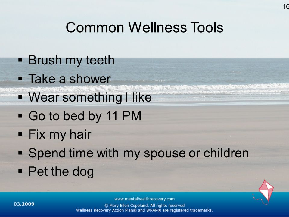 Common Wellness Tools Brush my teeth Take a shower Wear something I like Go to bed by 11 PM Fix my hair Spend time with my spouse or children Pet the