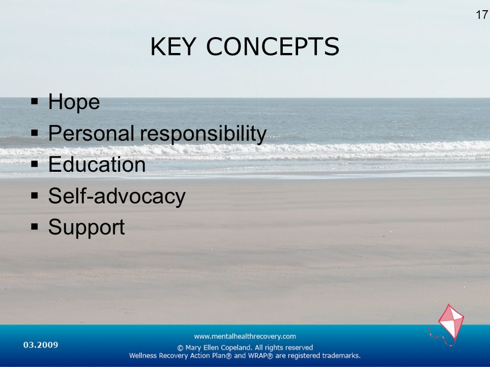 KEY CONCEPTS Hope Personal responsibility Education Self-advocacy Support 17