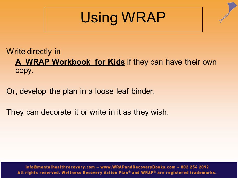 Using WRAP Write directly in A WRAP Workbook for Kids if they can have their own copy. Or, develop the plan in a loose leaf binder. They can decorate