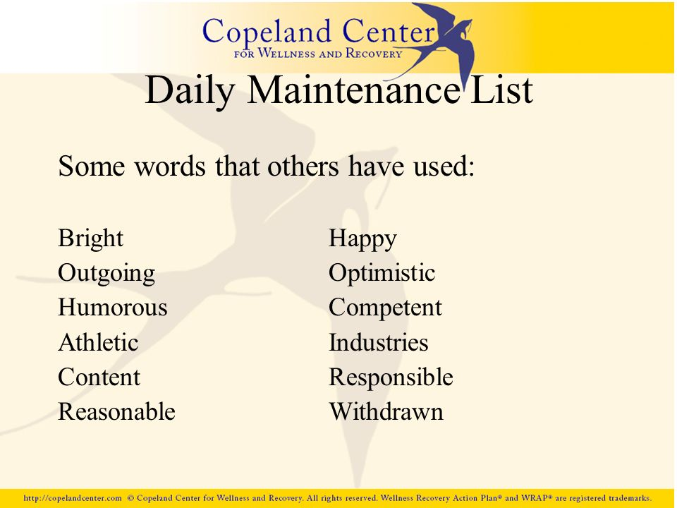 Daily Maintenance List Some words that others have used: BrightHappy OutgoingOptimistic HumorousCompetent AthleticIndustries ContentResponsible Reason