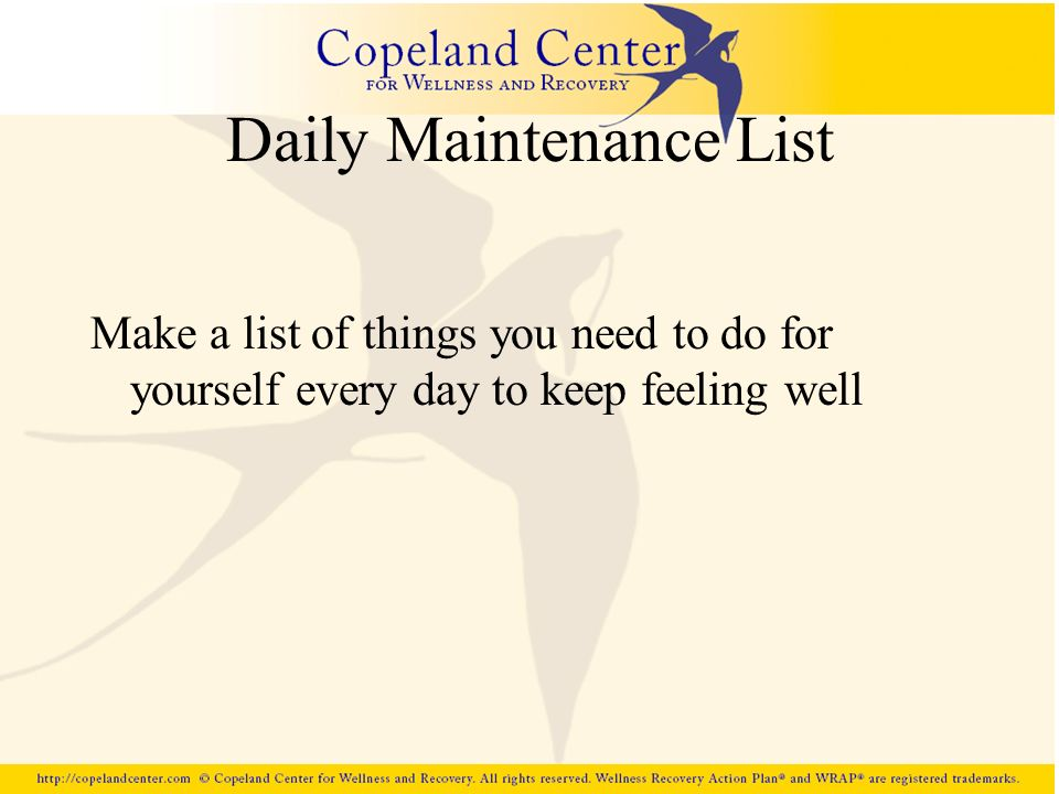 Daily Maintenance List Make a list of things you need to do for yourself every day to keep feeling well