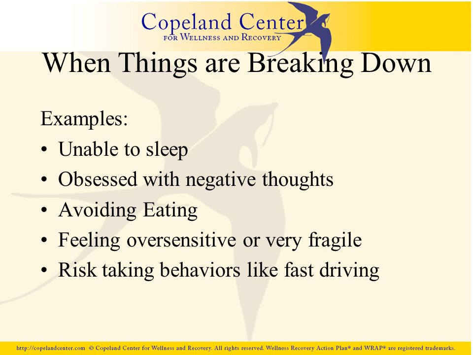 When Things are Breaking Down Examples: Unable to sleep Obsessed with negative thoughts Avoiding Eating Feeling oversensitive or very fragile Risk tak