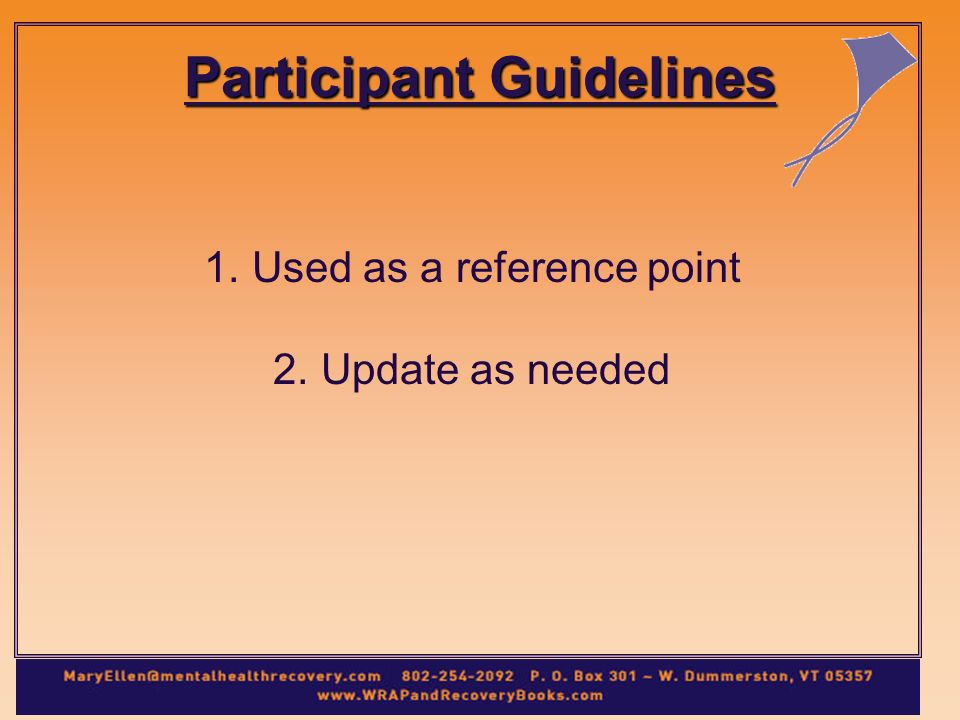 Participant Guidelines 1.Used as a reference point 2.Update as needed