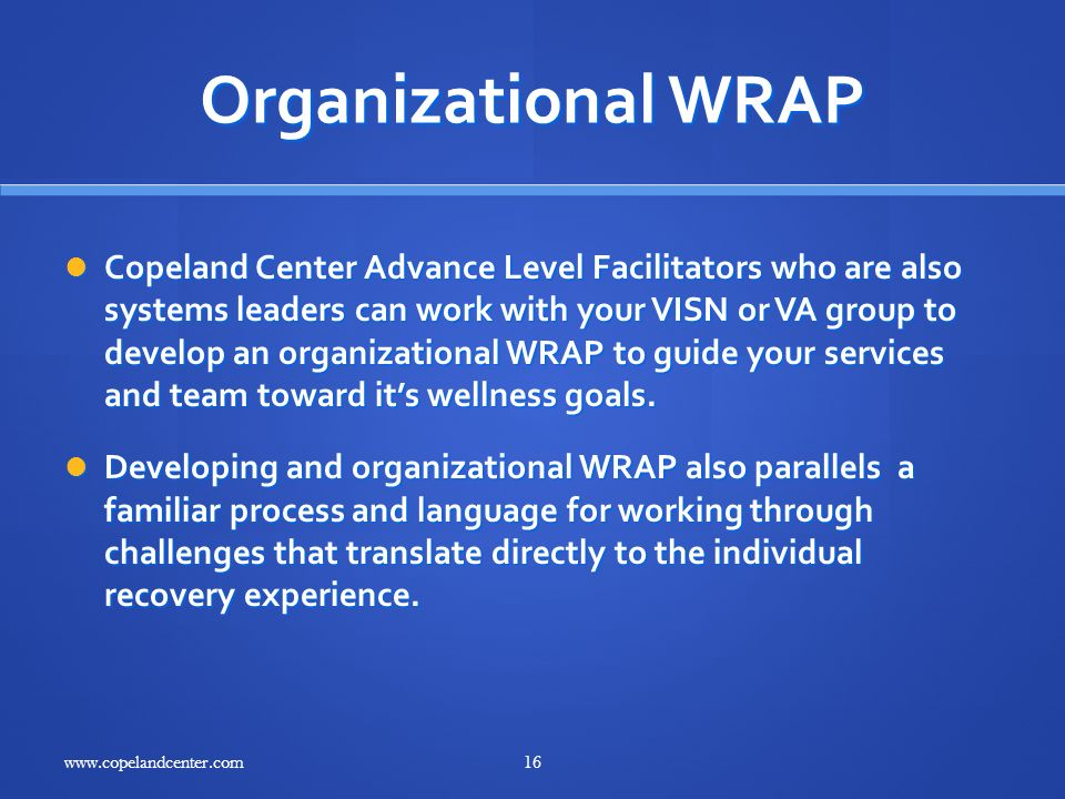 Organizational WRAP Copeland Center Advance Level Facilitators who are also systems leaders can work with your VISN or VA group to develop an organiza