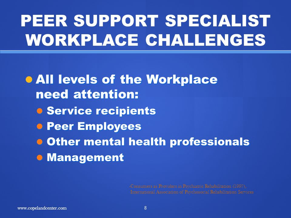 All levels of the Workplace need attention: All levels of the Workplace need attention: Service recipients Service recipients Peer Employees Peer Employees Other mental health professionals Other mental health professionals Management Management -Consumers as Providers in Psychiatric Rehabilitation (1997), International Association of Psychosocial Rehabilitation Services PEER SUPPORT SPECIALIST WORKPLACE CHALLENGES 8