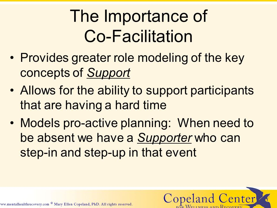 The Importance of Co-Facilitation Provides greater role modeling of the key concepts of Support Allows for the ability to support participants that are having a hard time Models pro-active planning: When need to be absent we have a Supporter who can step-in and step-up in that event