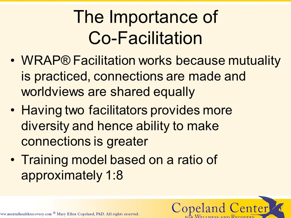 The Importance of Co-Facilitation WRAP® Facilitation works because mutuality is practiced, connections are made and worldviews are shared equally Having two facilitators provides more diversity and hence ability to make connections is greater Training model based on a ratio of approximately 1:8