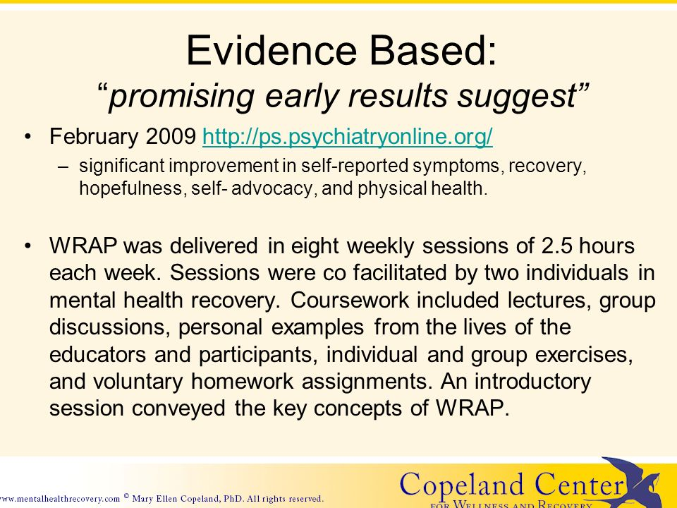 Evidence Based:promising early results suggest February 2009 http://ps.psychiatryonline.org/http://ps.psychiatryonline.org/ –significant improvement in self-reported symptoms, recovery, hopefulness, self- advocacy, and physical health.