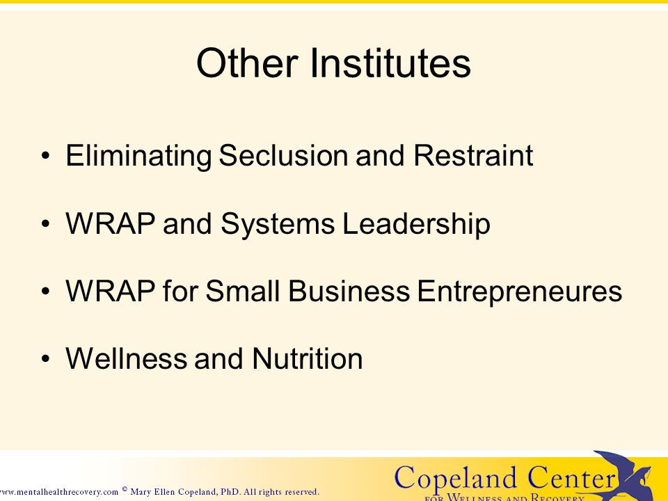 Other Institutes Eliminating Seclusion and Restraint WRAP and Systems Leadership WRAP for Small Business Entrepreneures Wellness and Nutrition