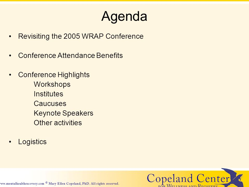 Agenda Revisiting the 2005 WRAP Conference Conference Attendance Benefits Conference Highlights Workshops Institutes Caucuses Keynote Speakers Other activities Logistics