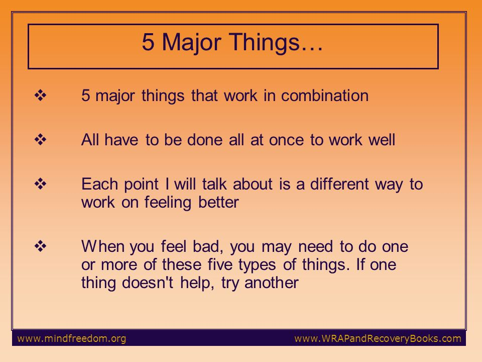 5 Major Things… 5 major things that work in combination All have to be done all at once to work well Each point I will talk about is a different way to work on feeling better When you feel bad, you may need to do one or more of these five types of things.