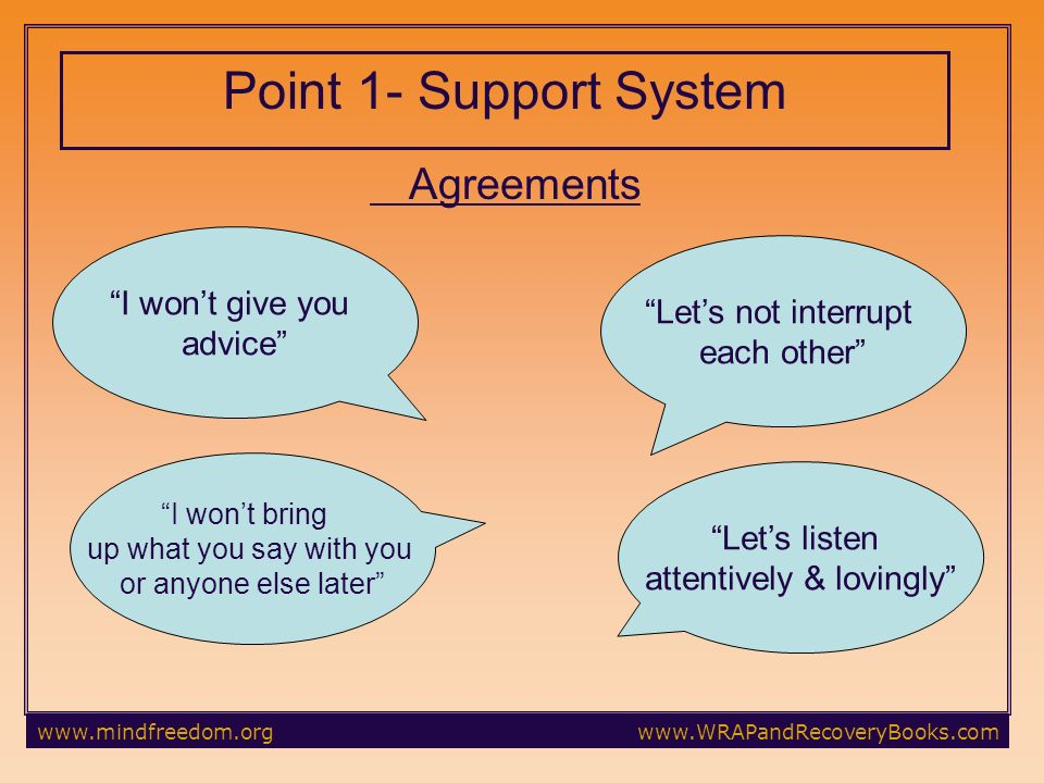 Point 1- Support System Agreements Lets not interrupt each other I wont give you advice Lets listen attentively & lovingly I wont bring up what you say with you or anyone else later