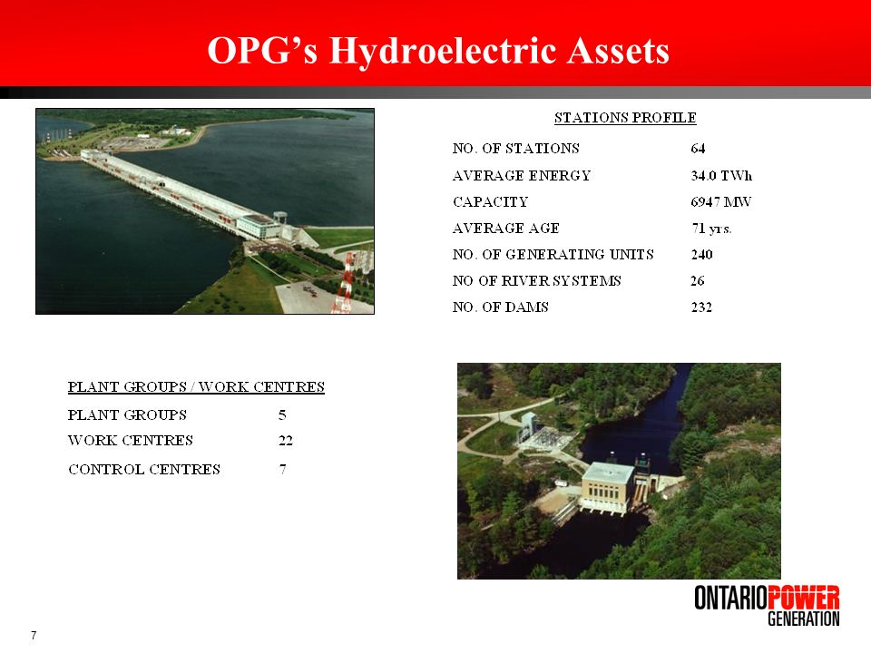 8 OPG Mandate Memorandum of Agreement between OPG and Shareholder (Ontario Government), signed August 17, 2005, states in part: With respect to investment in new generation capacity, OPGs priority will be hydro-electric generation capacity.