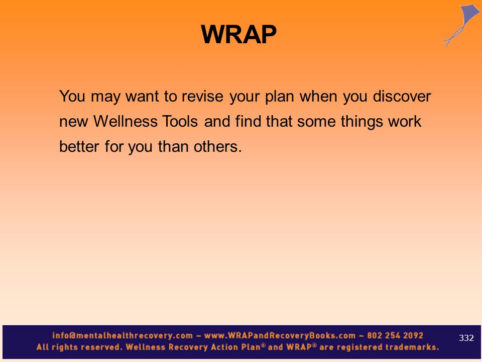 You may want to revise your plan when you discover new Wellness Tools and find that some things work better for you than others. 332 WRAP